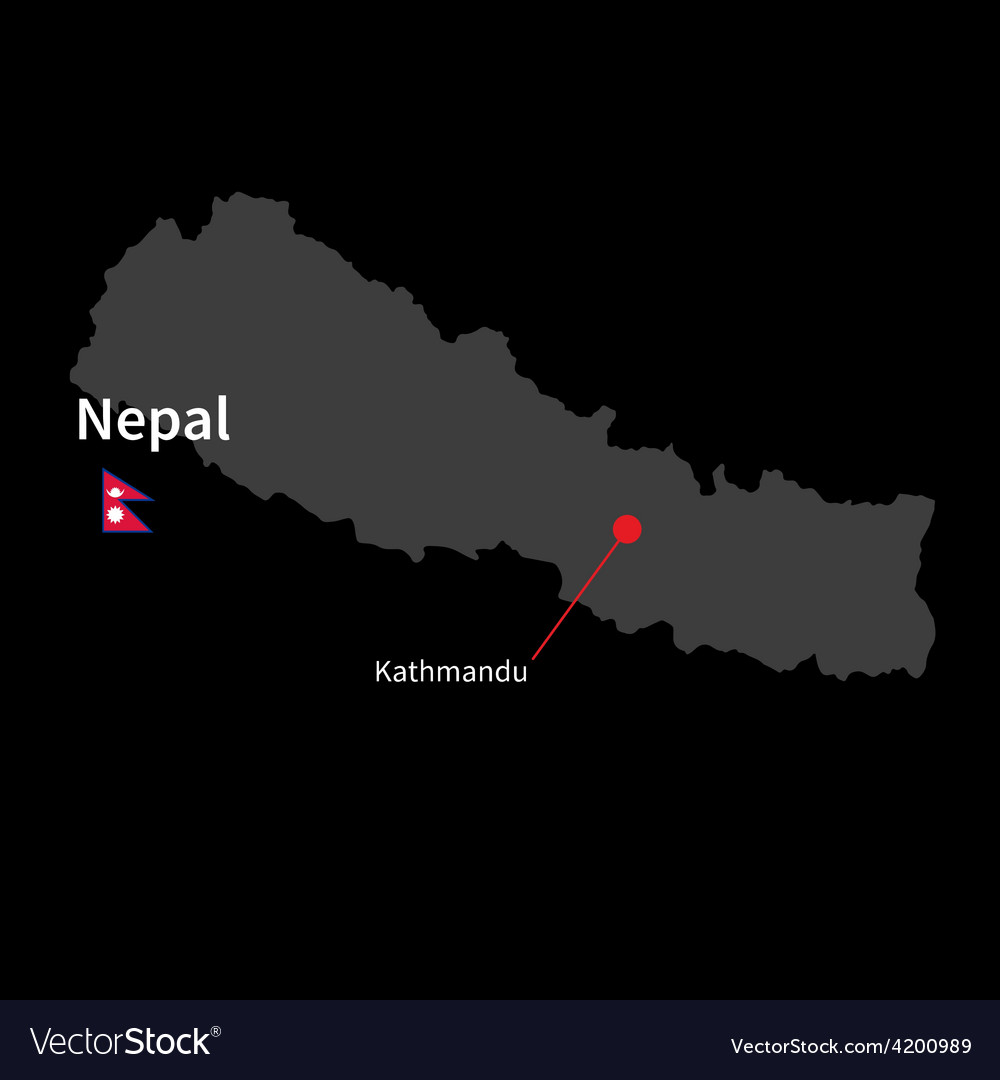 Detailed map of nepal and capital city kathmandu vector | Price: 1 Credit (USD $1)