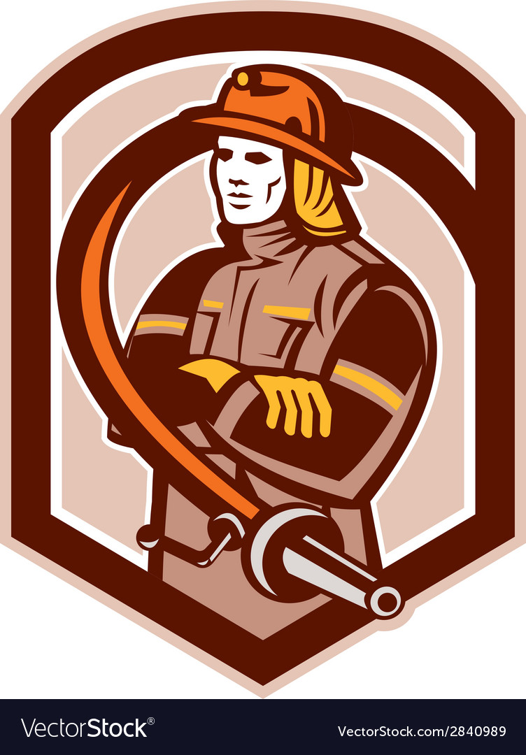 Fireman firefighter folding arms circle retro vector | Price: 1 Credit (USD $1)