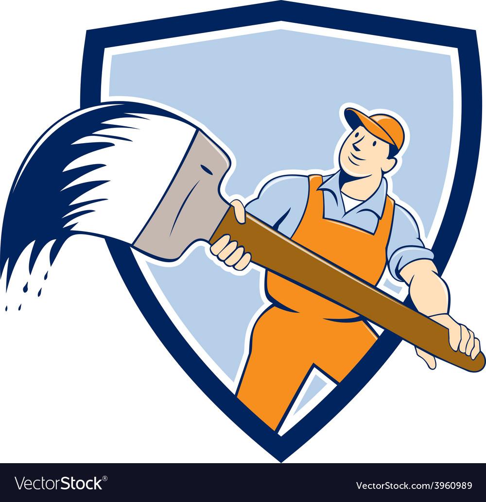 House painter giant paintbrush shield cartoon vector | Price: 1 Credit (USD $1)