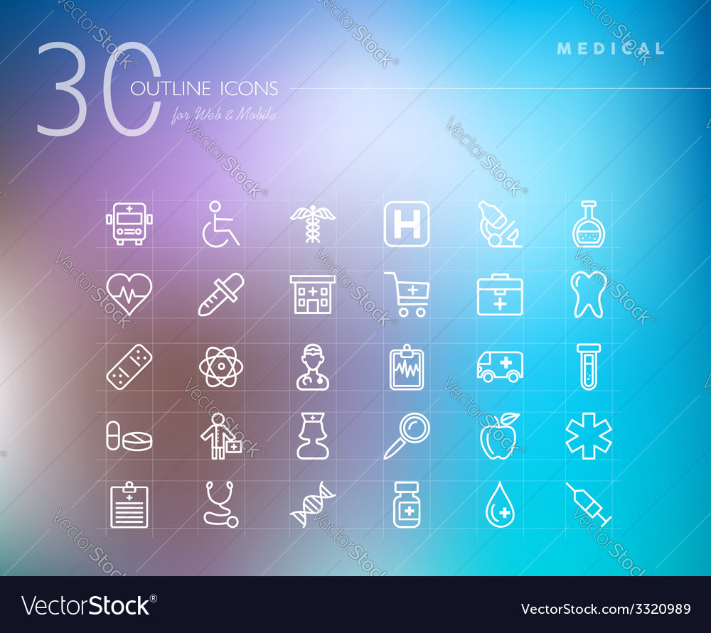 Medical outline icons set vector | Price: 1 Credit (USD $1)