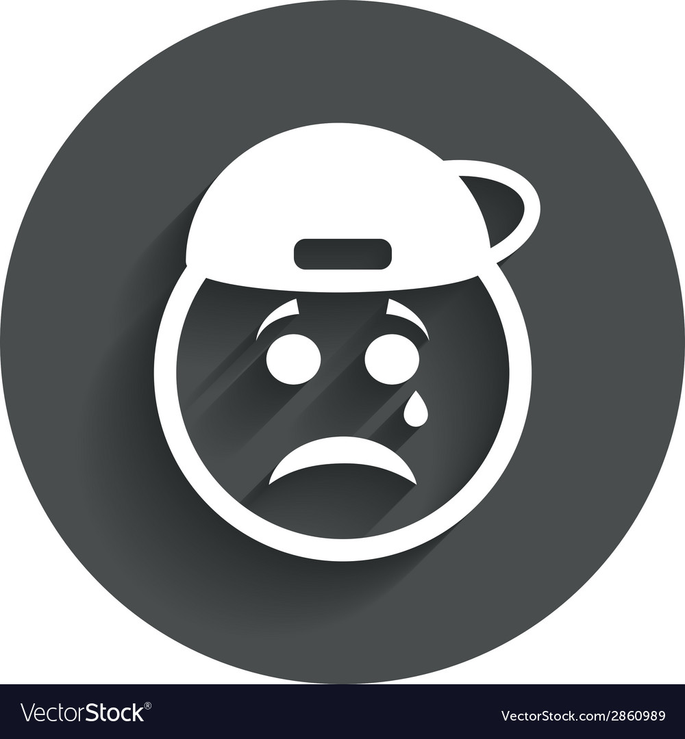 Sad rapper face with tear icon crying symbol vector | Price: 1 Credit (USD $1)