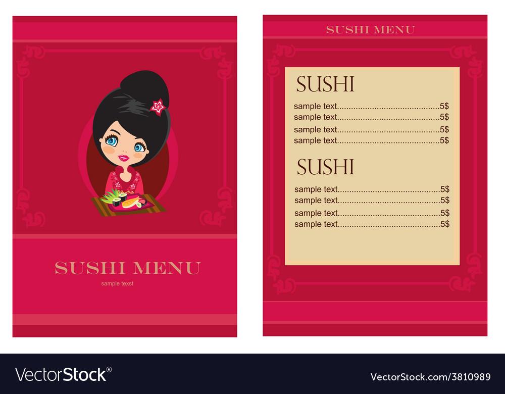 Template of sushi menu vector   Price: 1 Credit (USD $1)