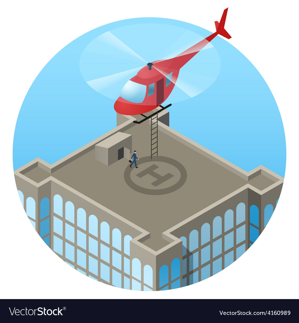 Vip landing in helicopter on skyscraper roof vector | Price: 1 Credit (USD $1)