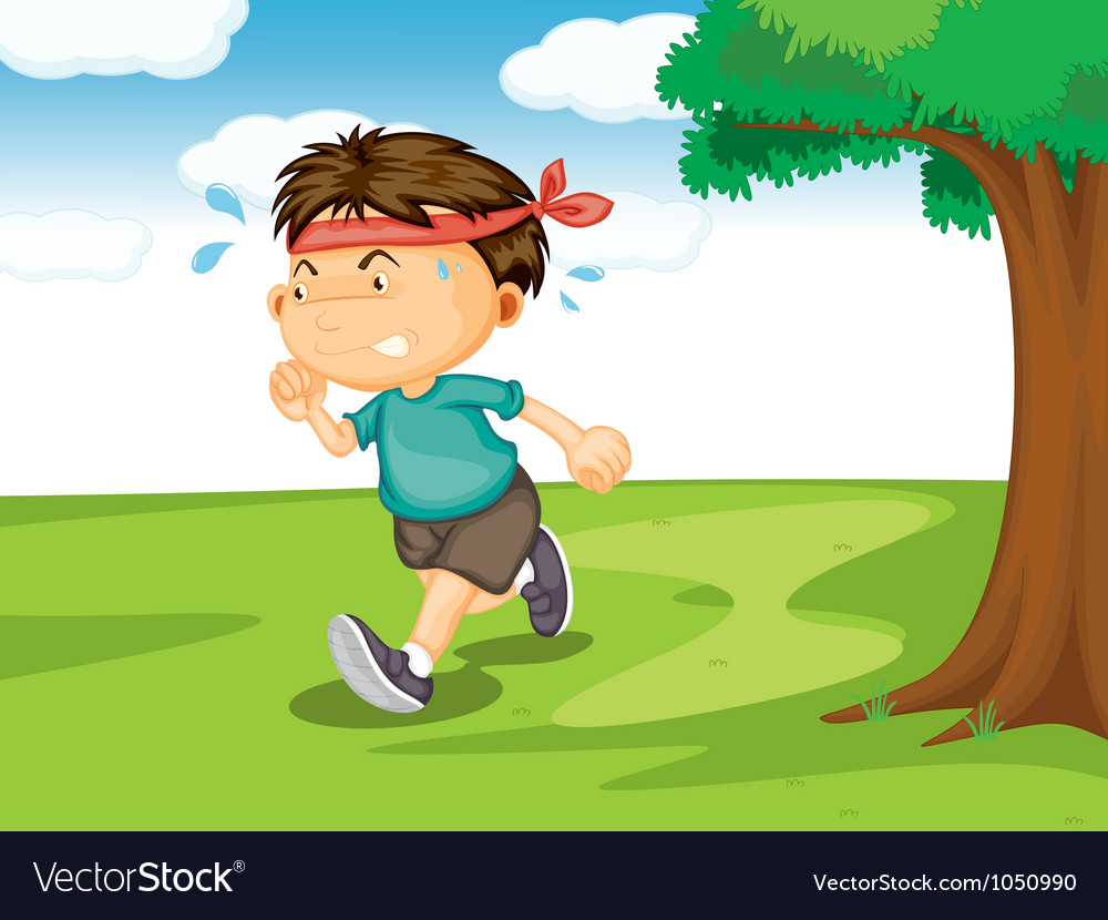 A boy running outside vector | Price: 1 Credit (USD $1)