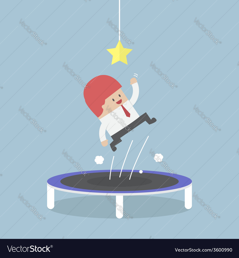 Businessman trying to catch the star by jumping on vector