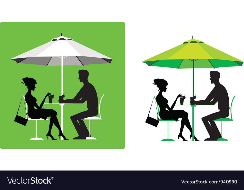 Couple at outdoor cafe vector | Price: 1 Credit (USD $1)