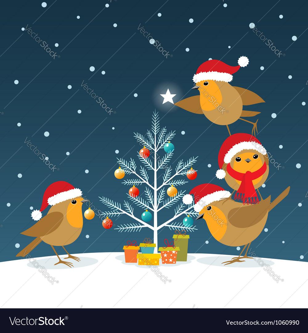 Funny christmas robins vector | Price: 3 Credit (USD $3)