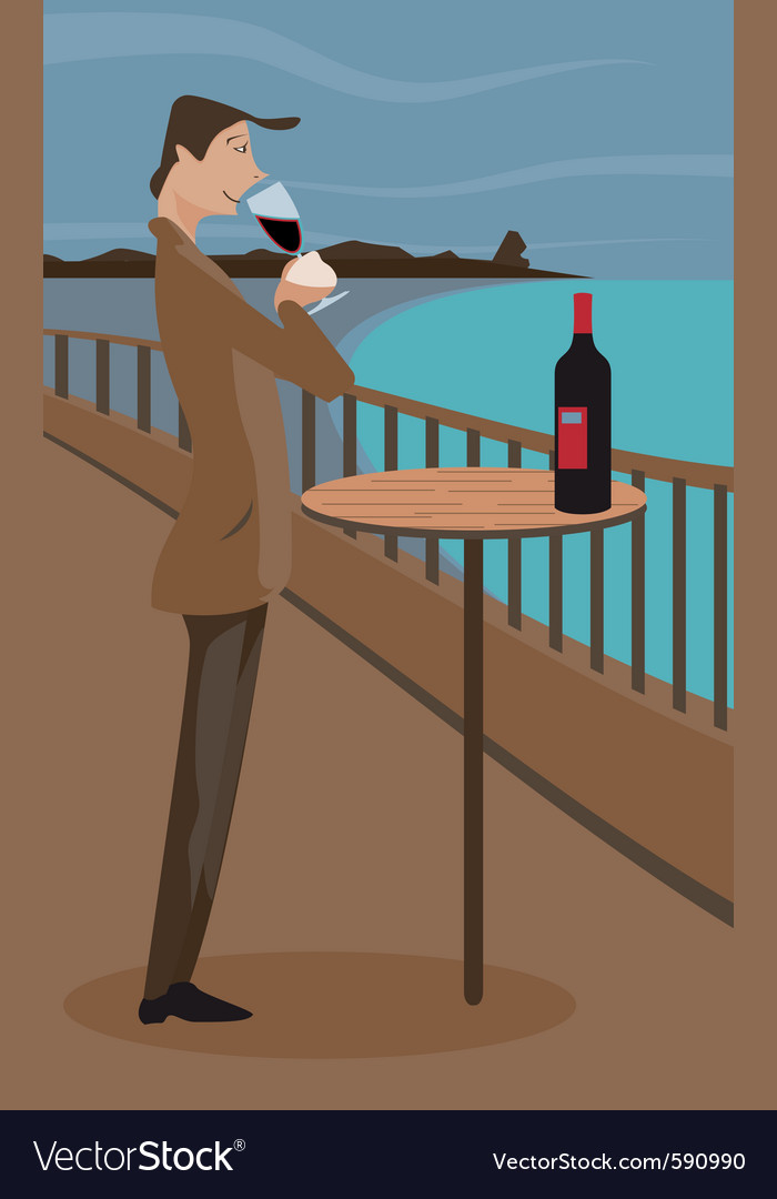 Man sipping wine vector | Price: 3 Credit (USD $3)