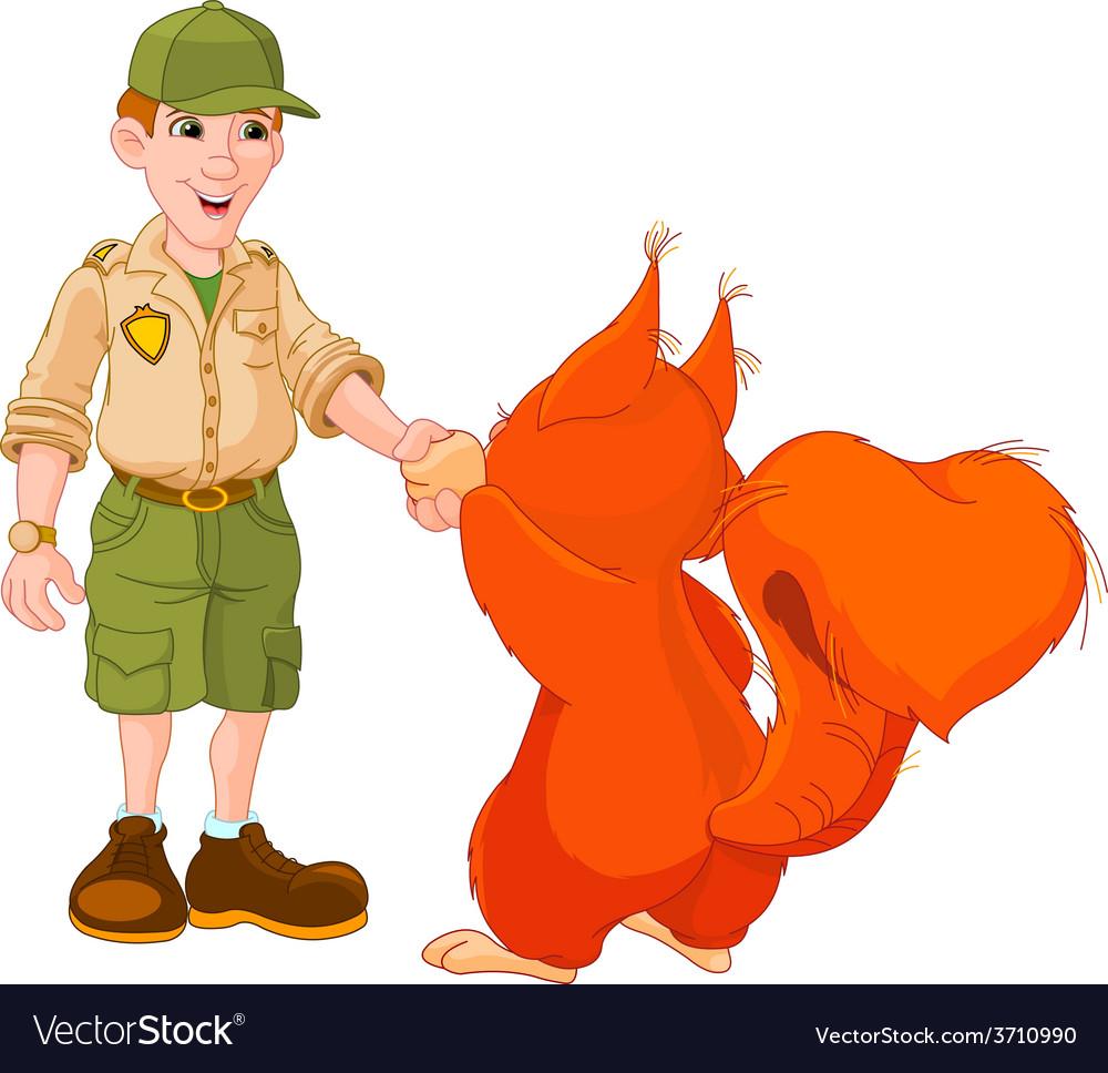 Ranger with squirrel vector | Price: 3 Credit (USD $3)