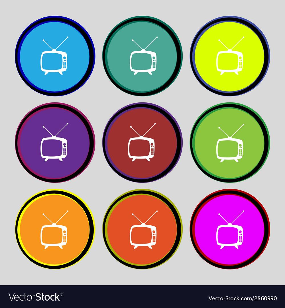 Retro tv mode sign icon television set symbol set vector   Price: 1 Credit (USD $1)