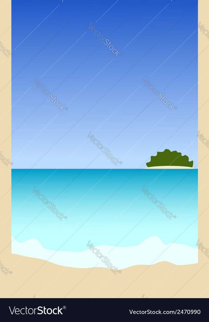 Seascape with island vector | Price: 1 Credit (USD $1)