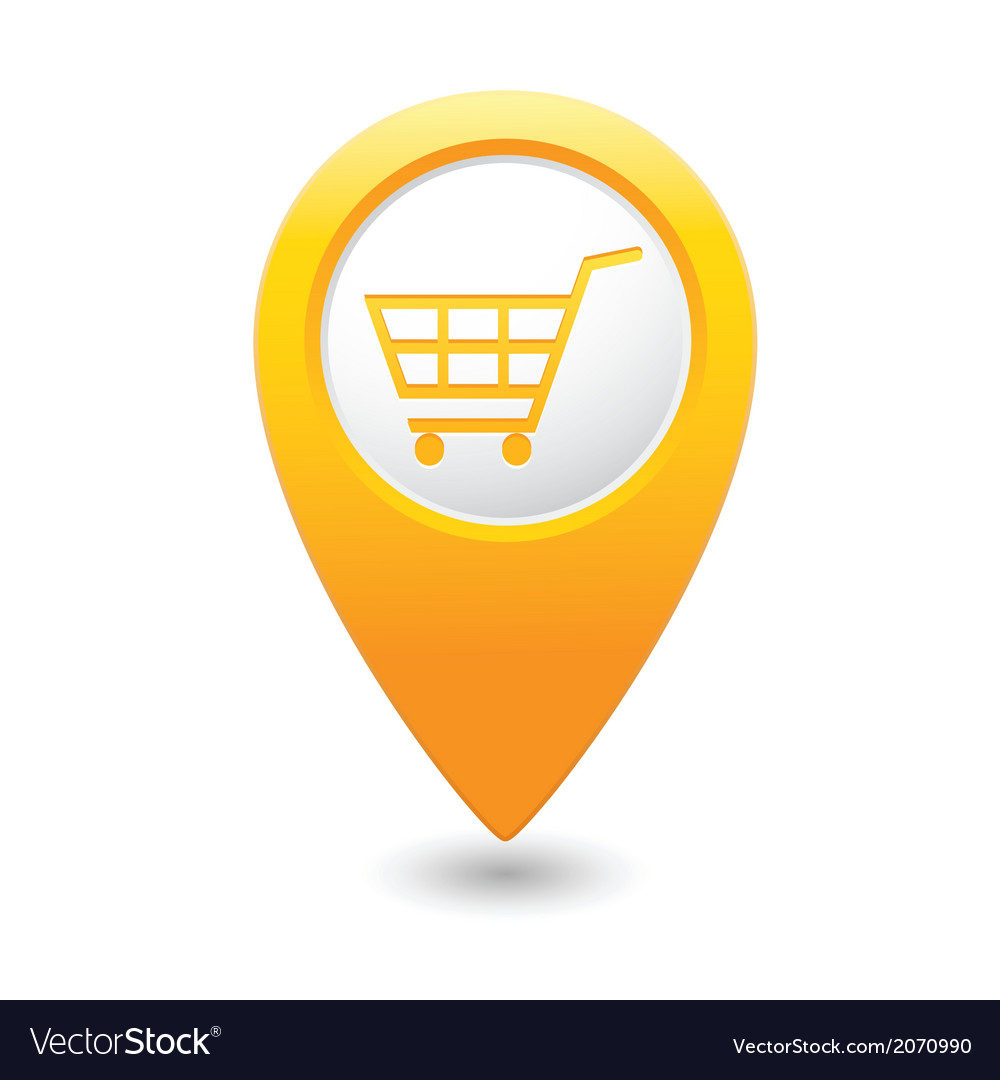 Shop basket icon yellow pointer vector | Price: 1 Credit (USD $1)
