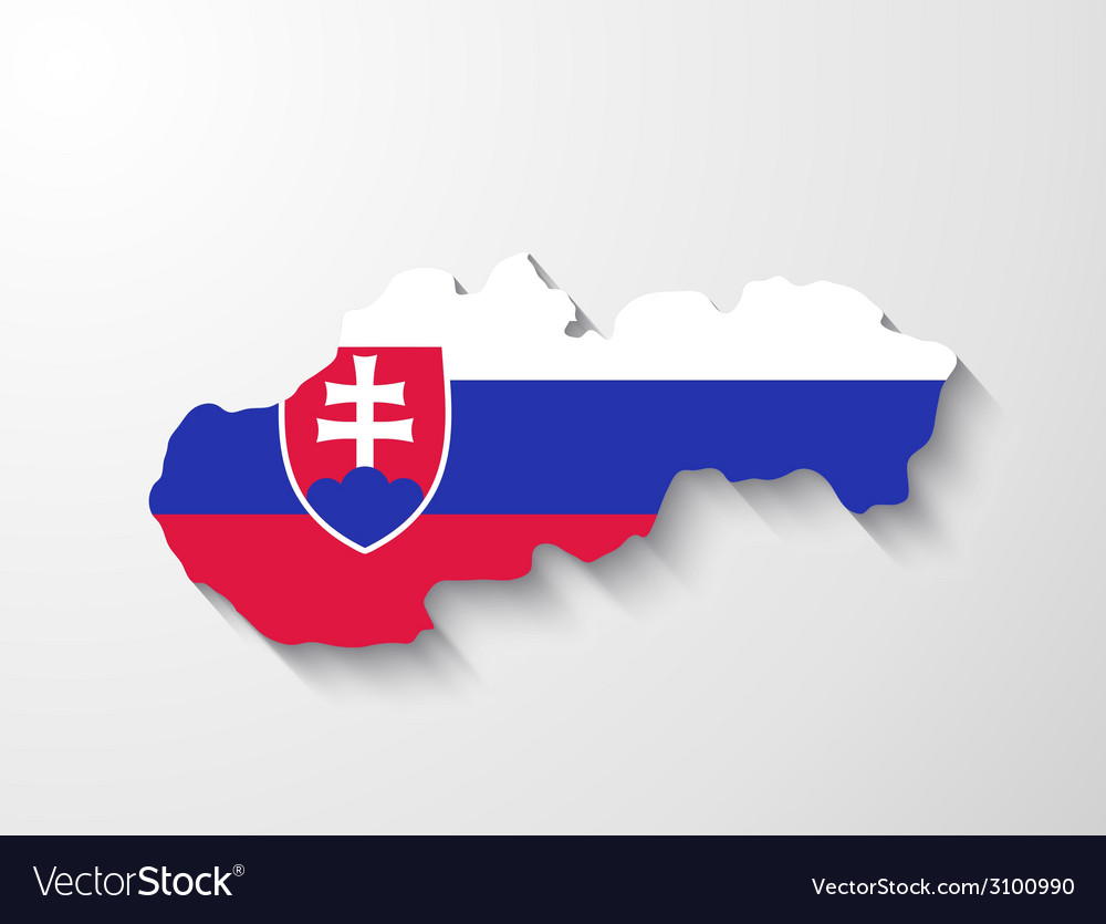 Slovakia map with shadow effect presentation vector | Price: 1 Credit (USD $1)