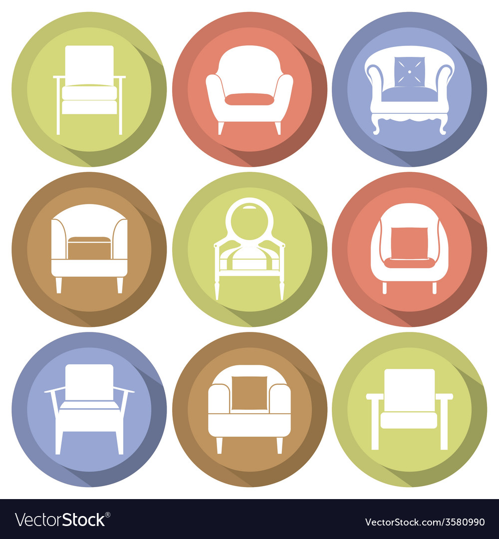 Sofas icons set flat design vector | Price: 1 Credit (USD $1)