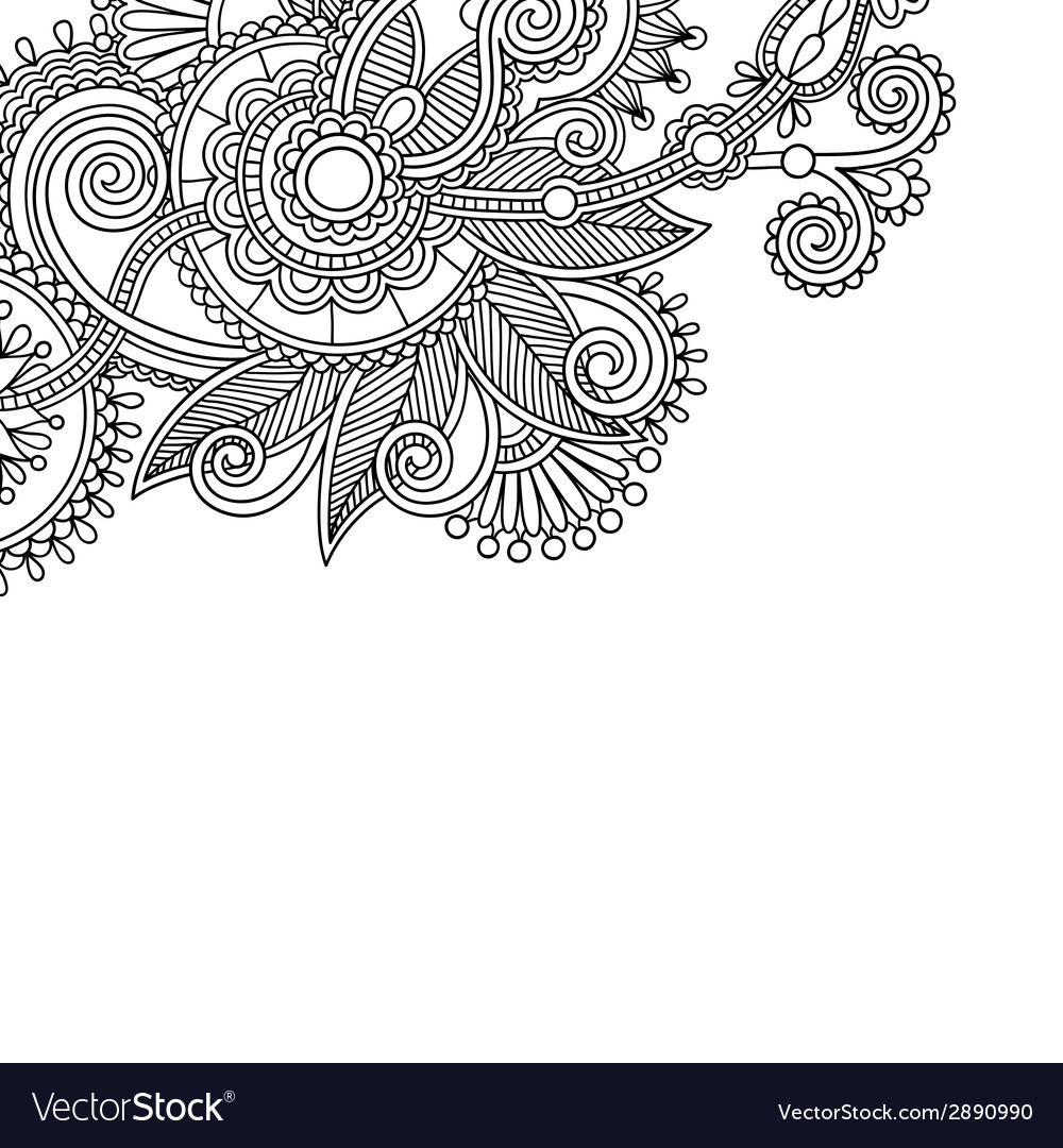 Vintage floral ornamental black and white card vector | Price: 1 Credit (USD $1)