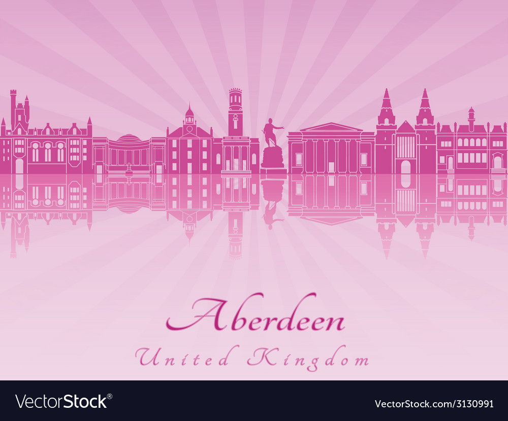 Aberdeen skyline in purple radiant orchid vector | Price: 1 Credit (USD $1)