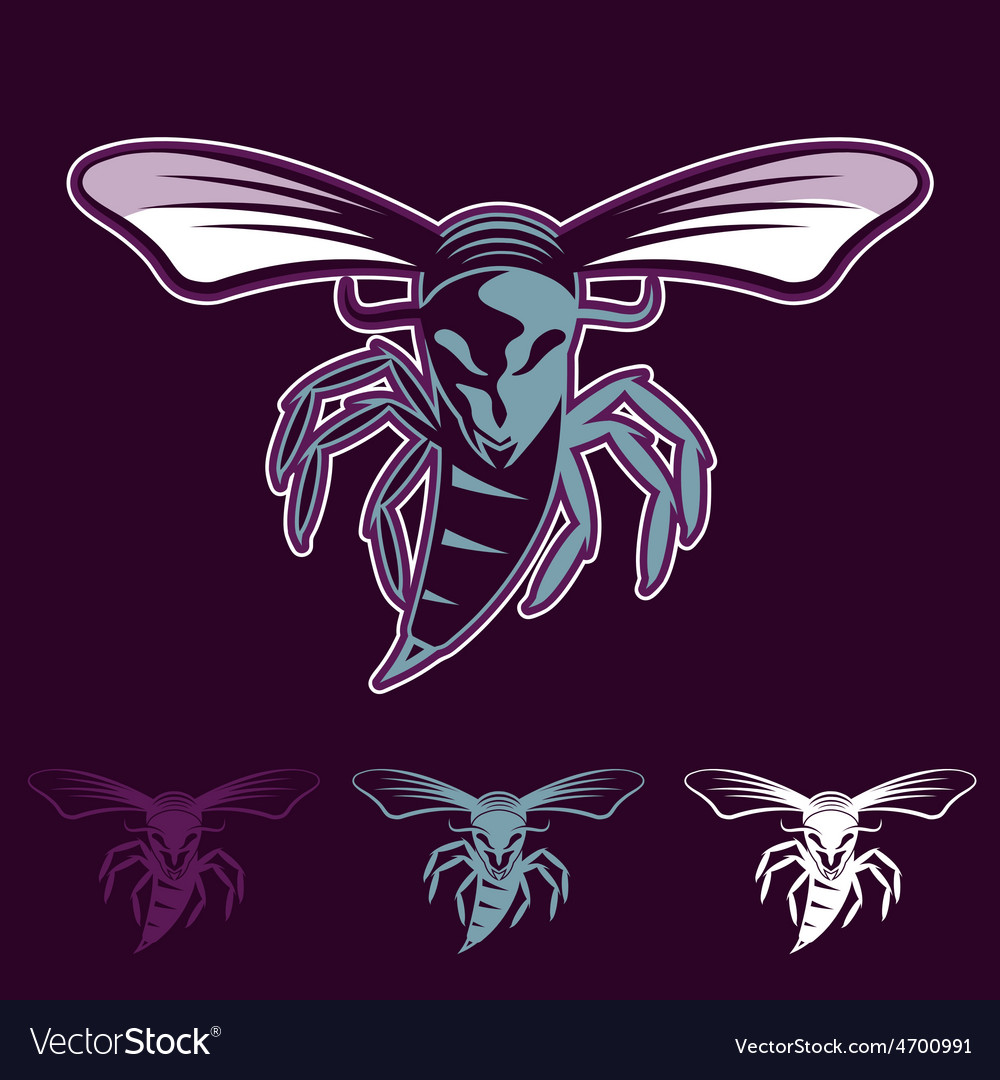 Aggressive bee or wasp mascot vector | Price: 1 Credit (USD $1)