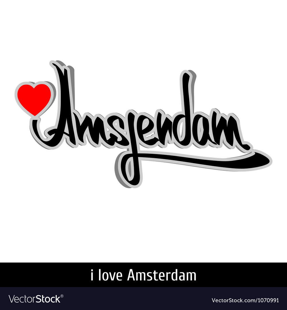 Amsterdam greetings hand lettering calligraphy vector | Price: 1 Credit (USD $1)
