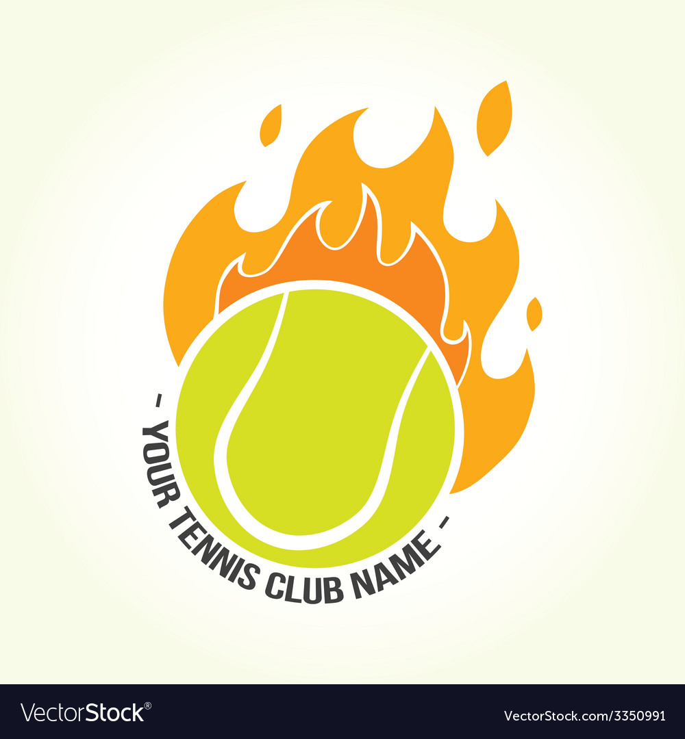 Burning tennis ball logo vector | Price: 1 Credit (USD $1)