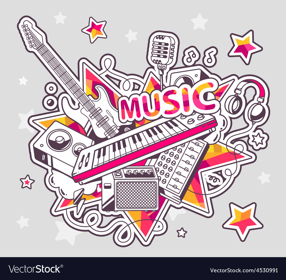 Colored set of musical instruments on a g vector   Price: 1 Credit (USD $1)