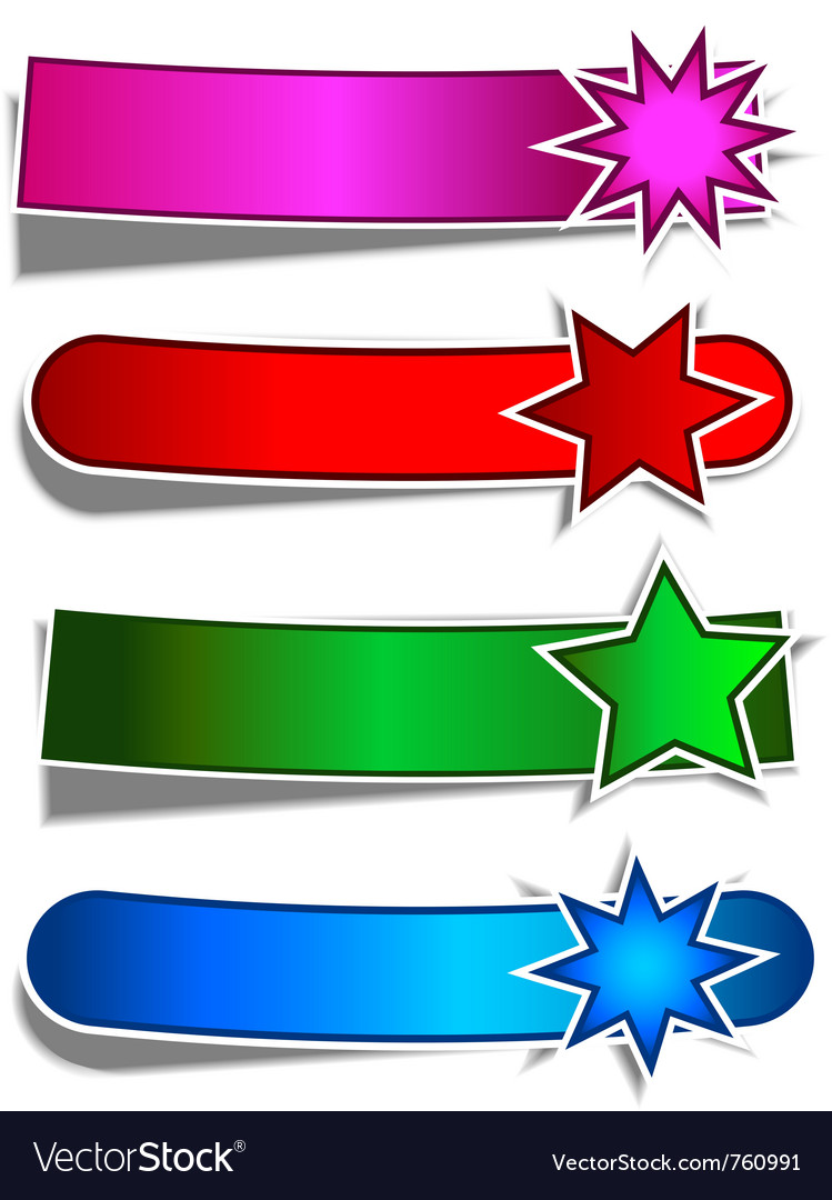 Coloured star banners vector | Price: 1 Credit (USD $1)
