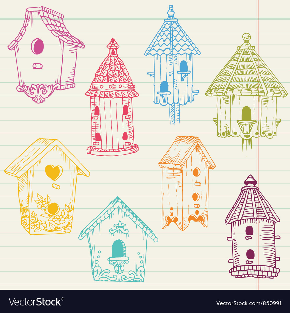 Cute bird house doodles vector | Price: 1 Credit (USD $1)