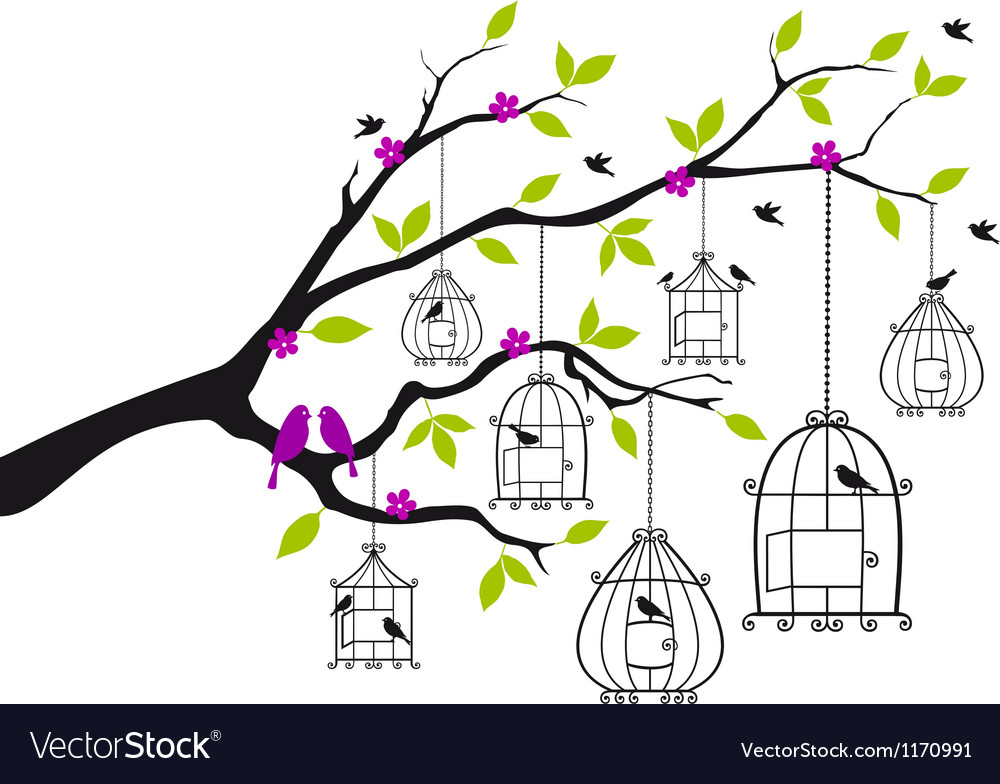 Free birds and open birdcages vector | Price: 1 Credit (USD $1)