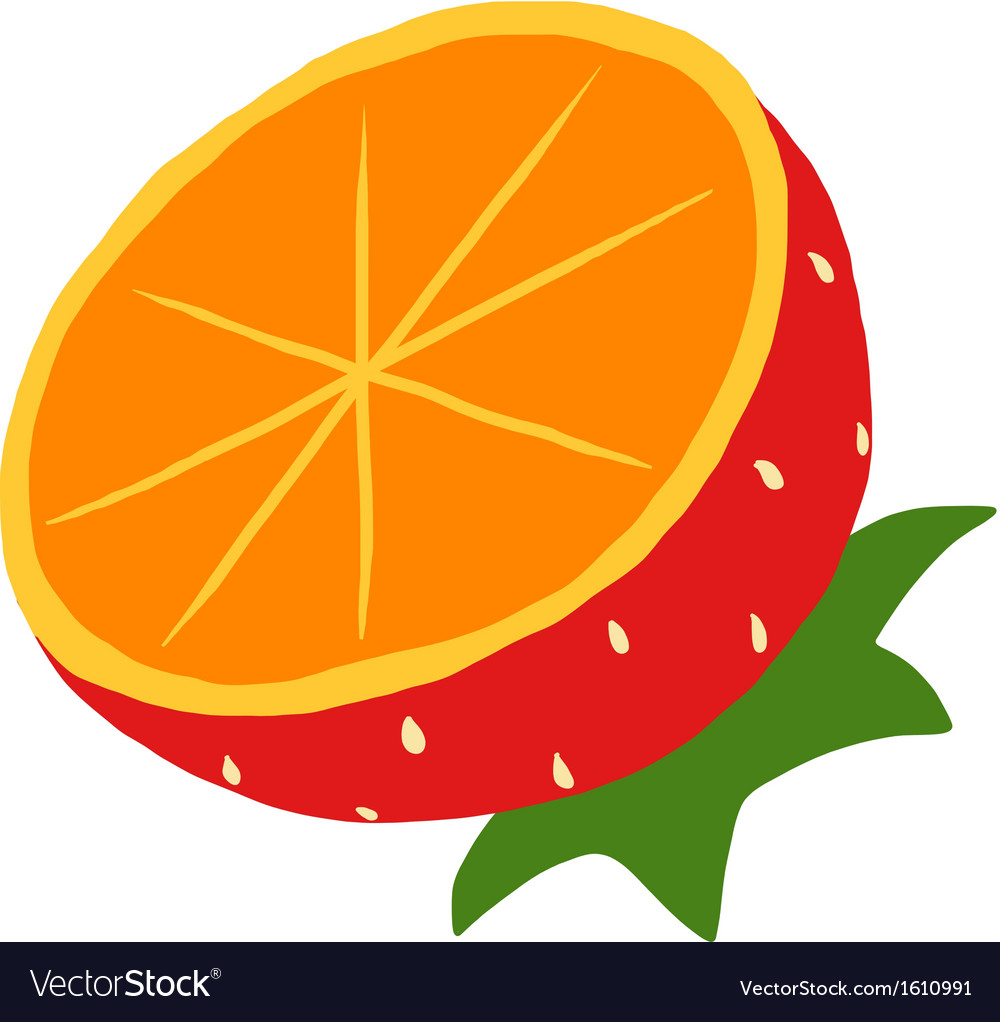 Orange mixed with strawberry icon vector | Price: 1 Credit (USD $1)