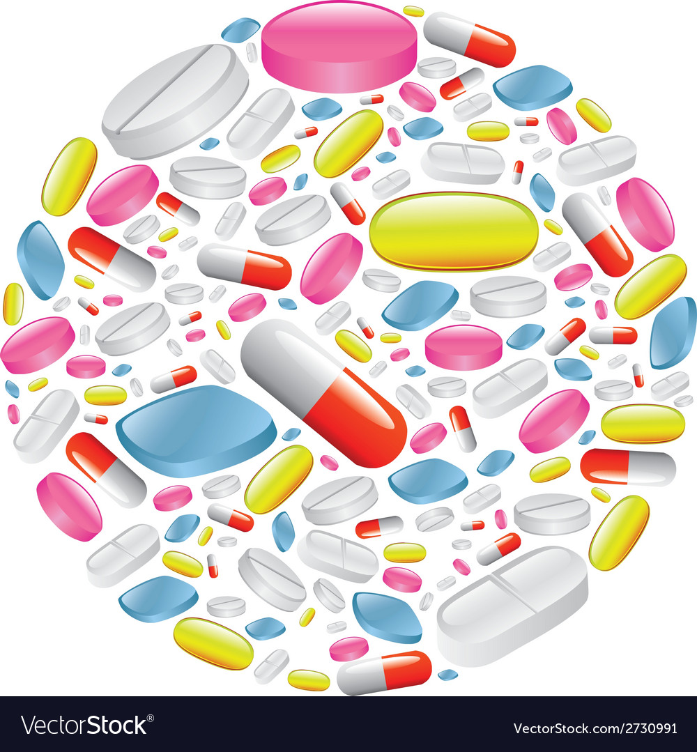 Pills and capsule in circle vector | Price: 1 Credit (USD $1)