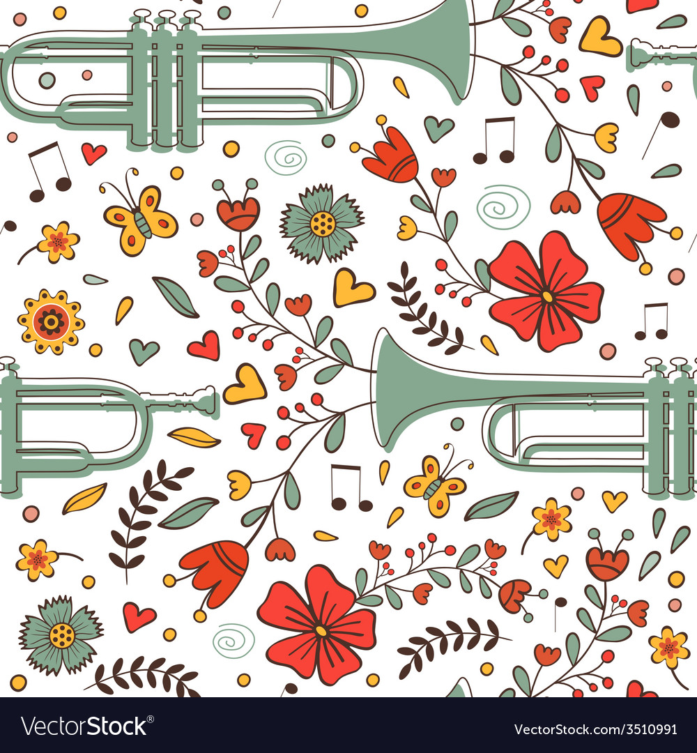 Seamless pattern with saxophone and flowers vector | Price: 1 Credit (USD $1)