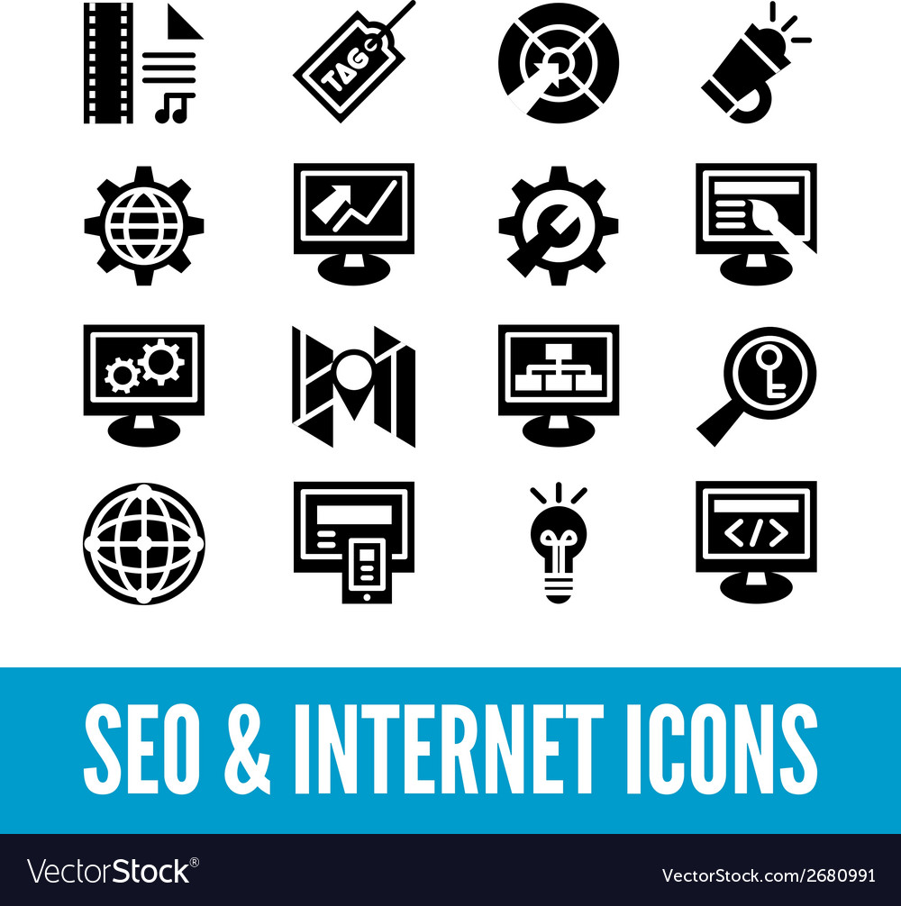 Seo and internet optimization icon set isolated vector | Price: 1 Credit (USD $1)