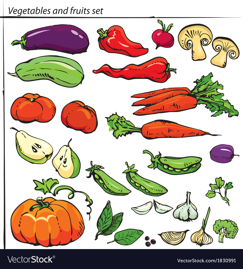 Set of delicious vegetables and fruits vector | Price: 1 Credit (USD $1)