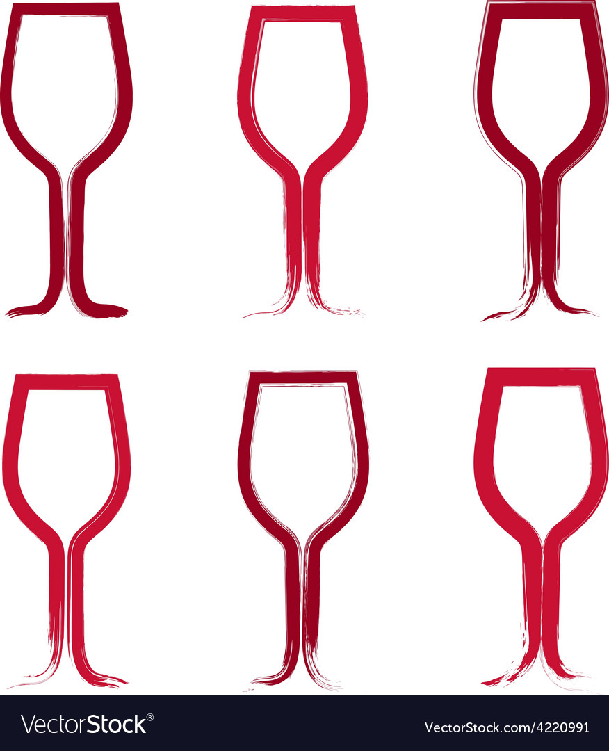 Set of hand-drawn simple empty wineglasses vector | Price: 1 Credit (USD $1)