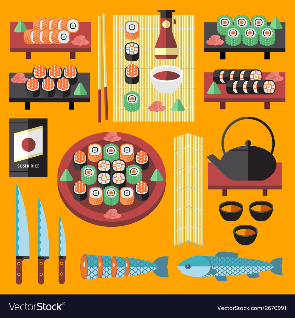 Sushi and japanese food icons set vector | Price: 1 Credit (USD $1)