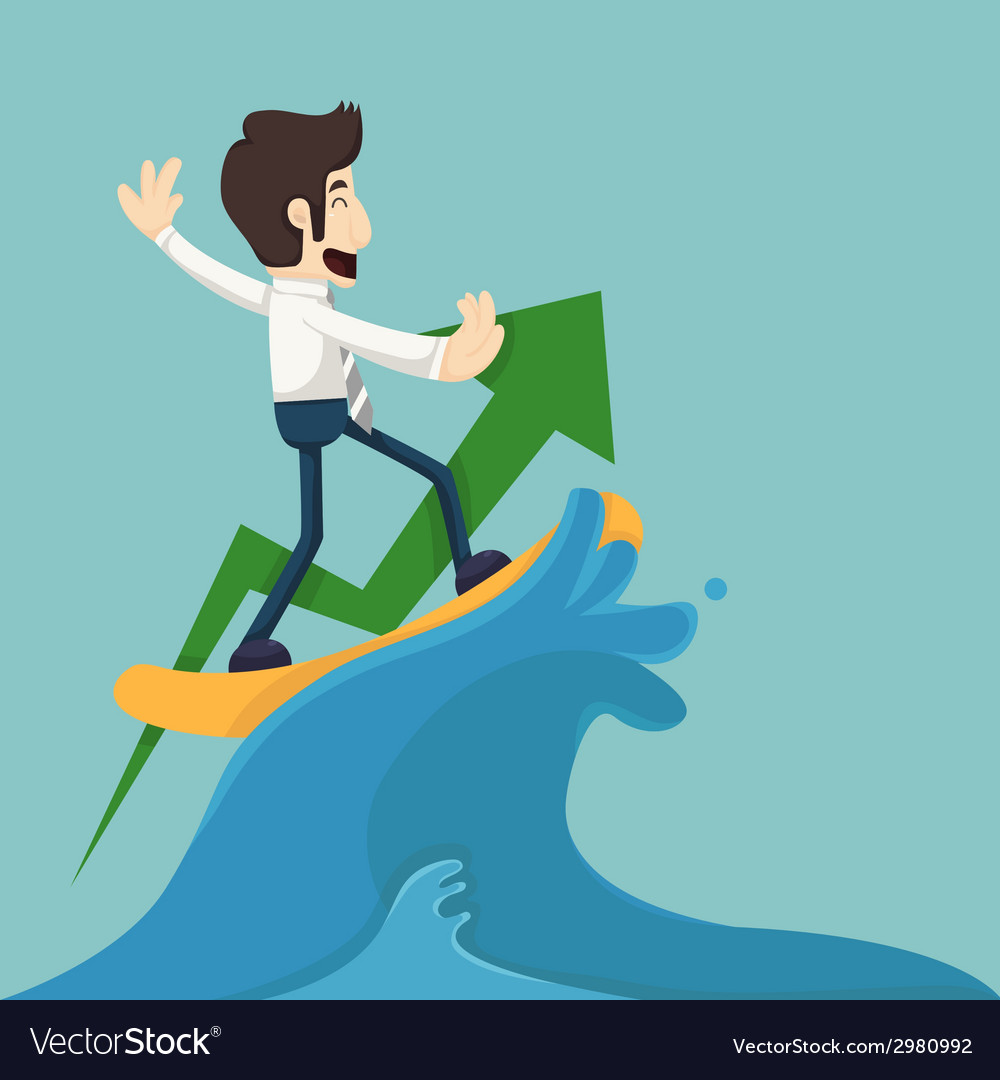 Businessman surfing on wave vector | Price: 1 Credit (USD $1)