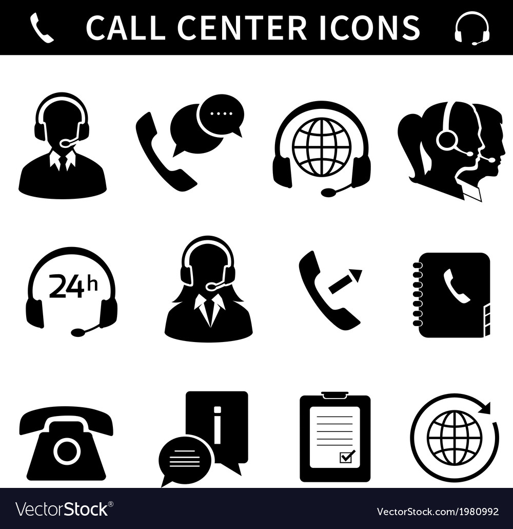Call center service icons set vector | Price: 1 Credit (USD $1)
