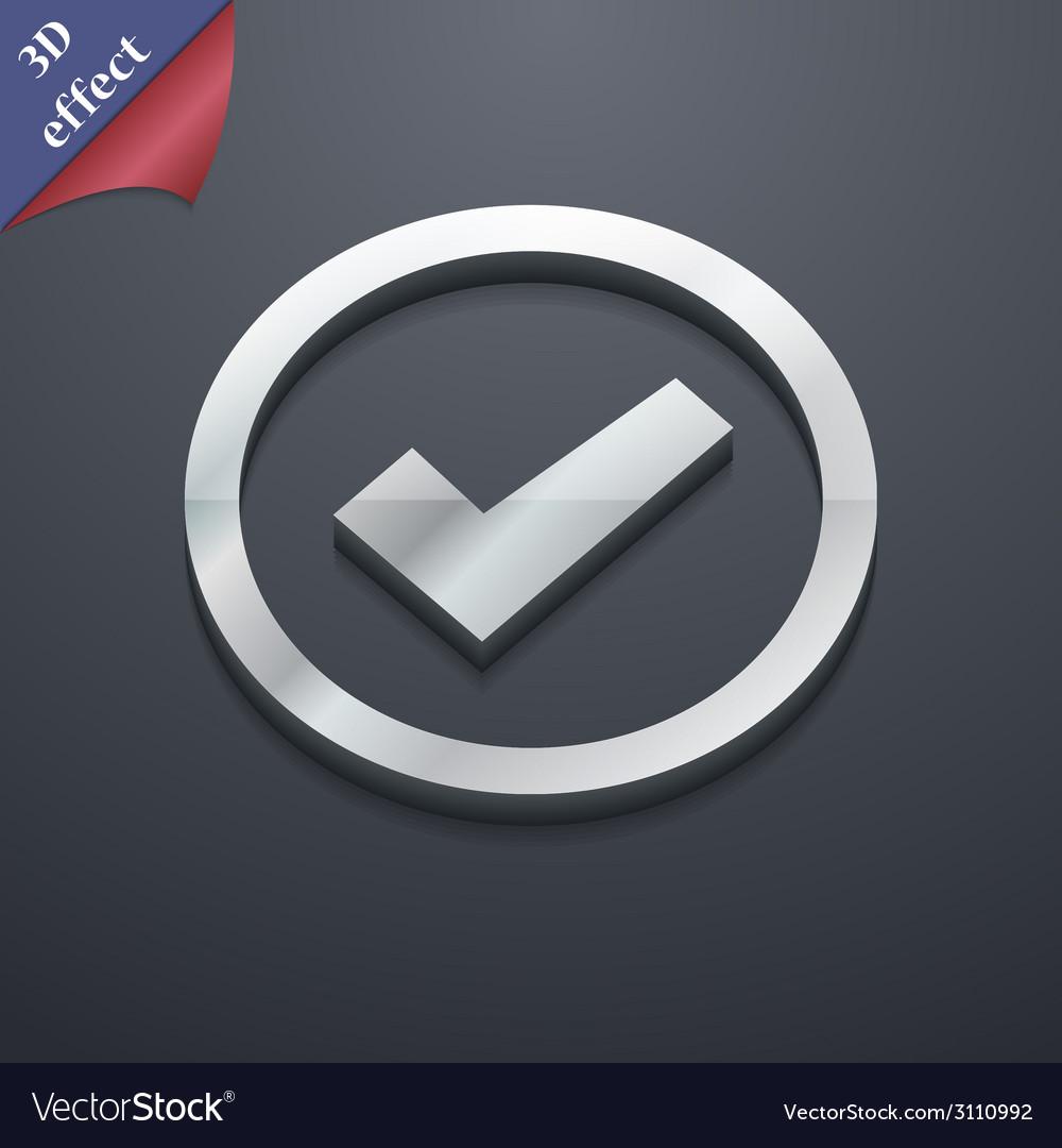 Check mark icon symbol 3d style trendy modern vector   Price: 1 Credit (USD $1)