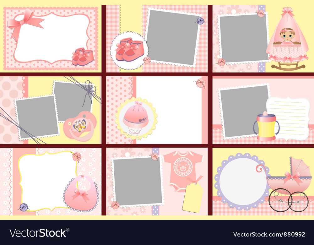Cute templates for baby photo frames vector | Price: 1 Credit (USD $1)