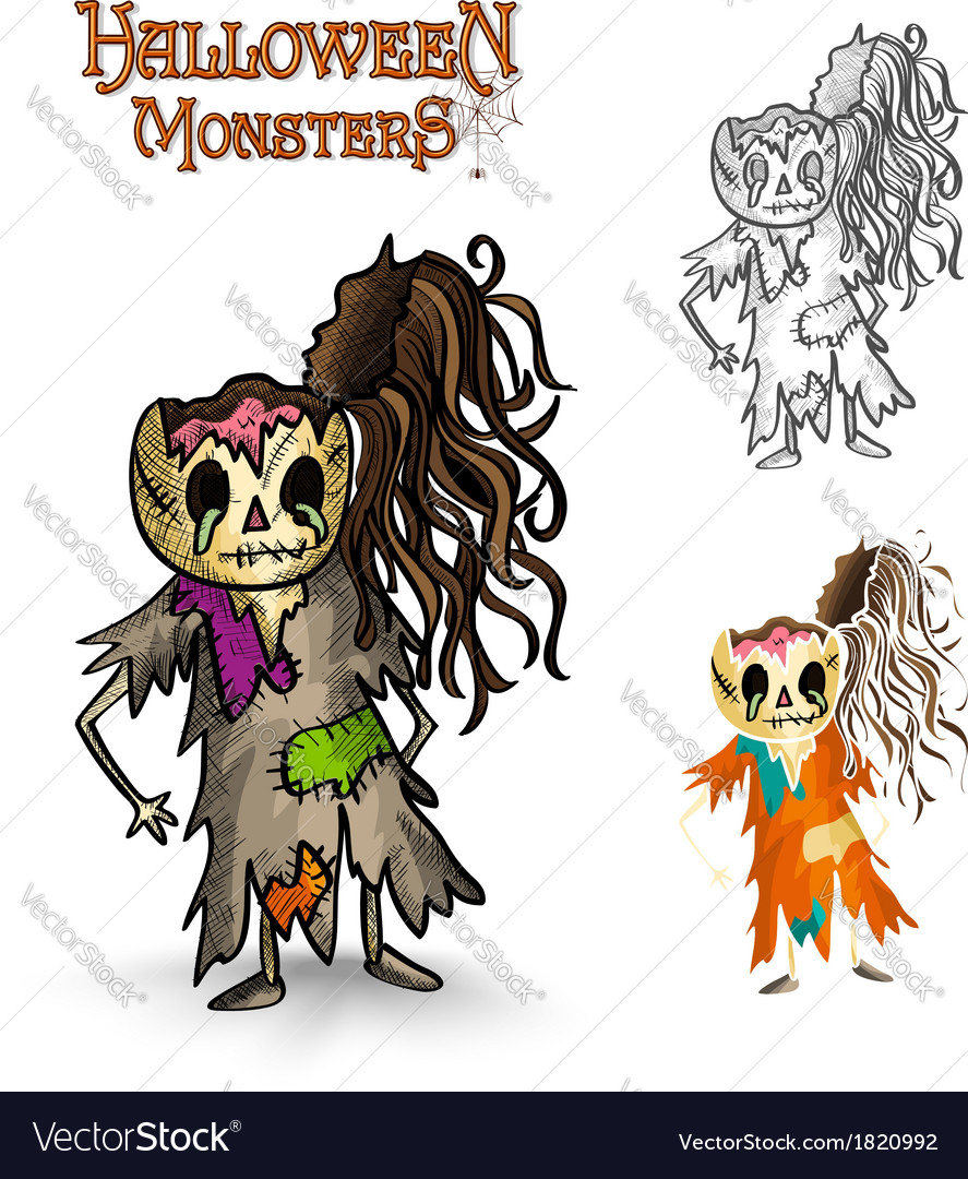 Halloween monsters scary cartoon rotten zombie vector | Price: 1 Credit (USD $1)