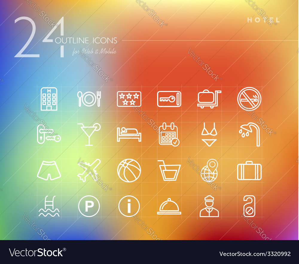 Hotel outline icons set vector | Price: 1 Credit (USD $1)