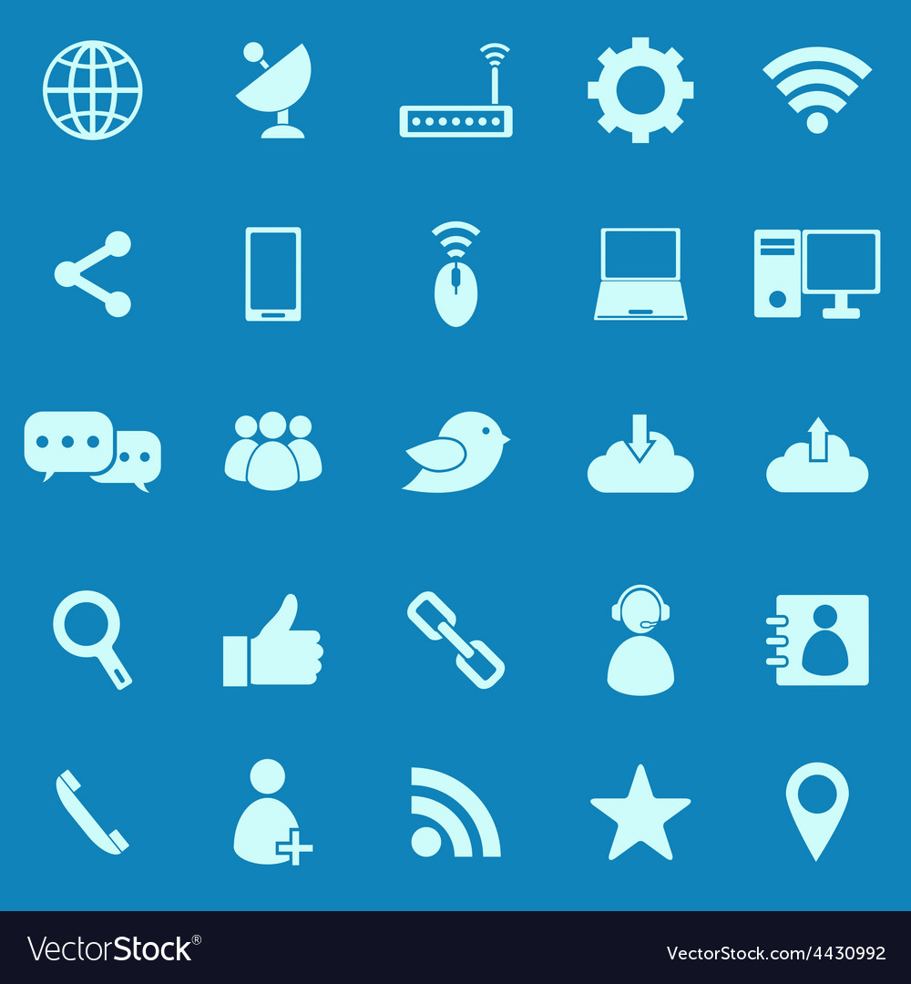 Network color icons on blue background vector | Price: 1 Credit (USD $1)