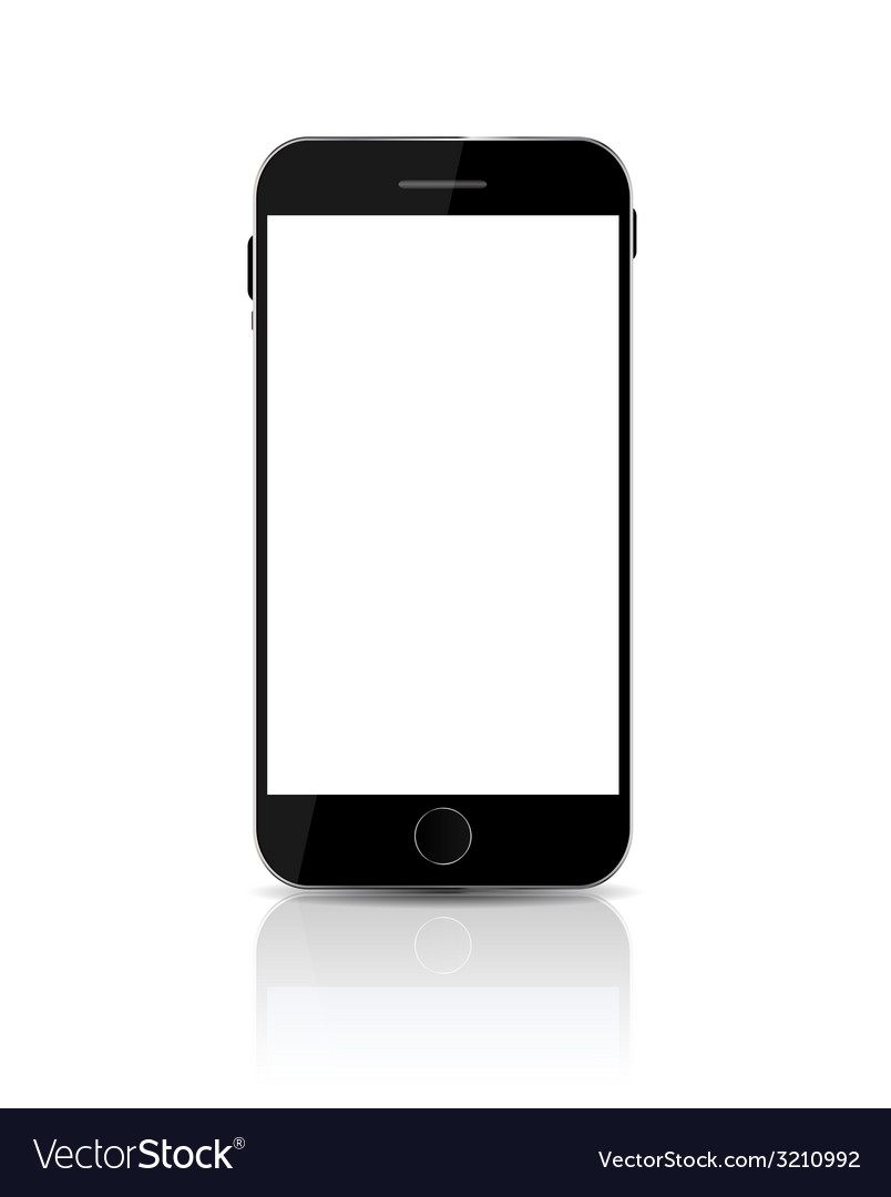 New realistic mobile phone with white screen vector | Price: 1 Credit (USD $1)