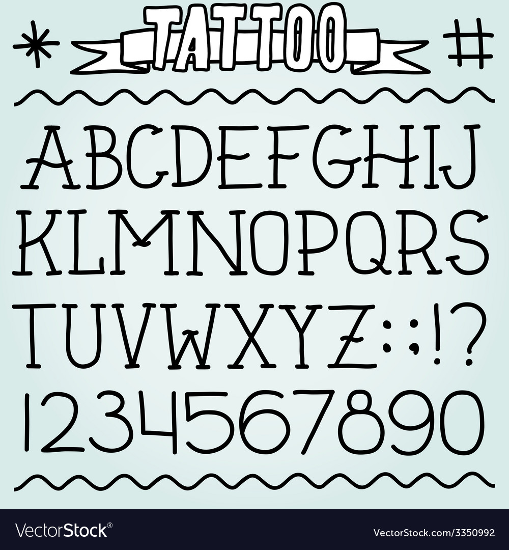 Old school tattoo font vector | Price: 1 Credit (USD $1)