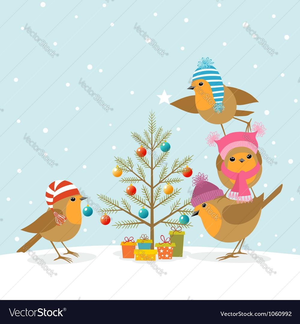 Robins and christmas tree vector | Price: 3 Credit (USD $3)
