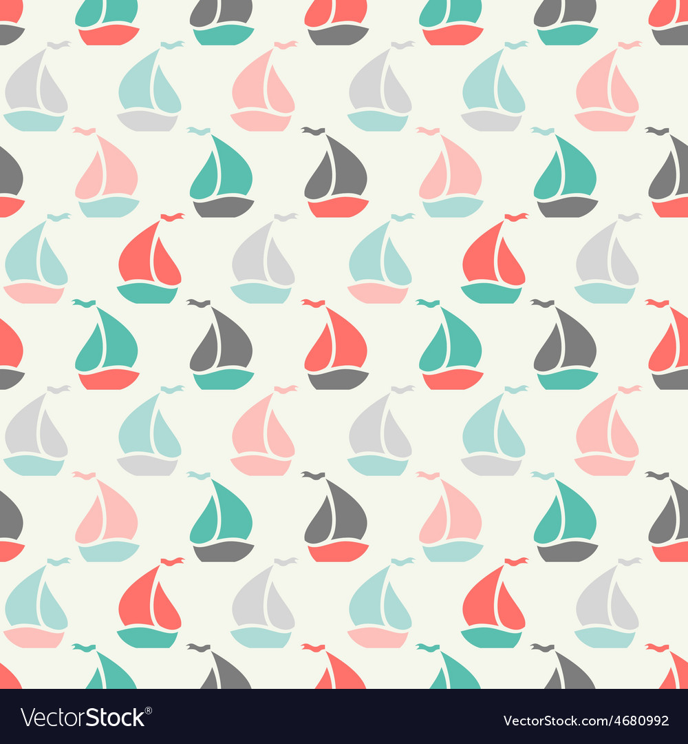 Sailboat shape seamless pattern vector | Price: 1 Credit (USD $1)
