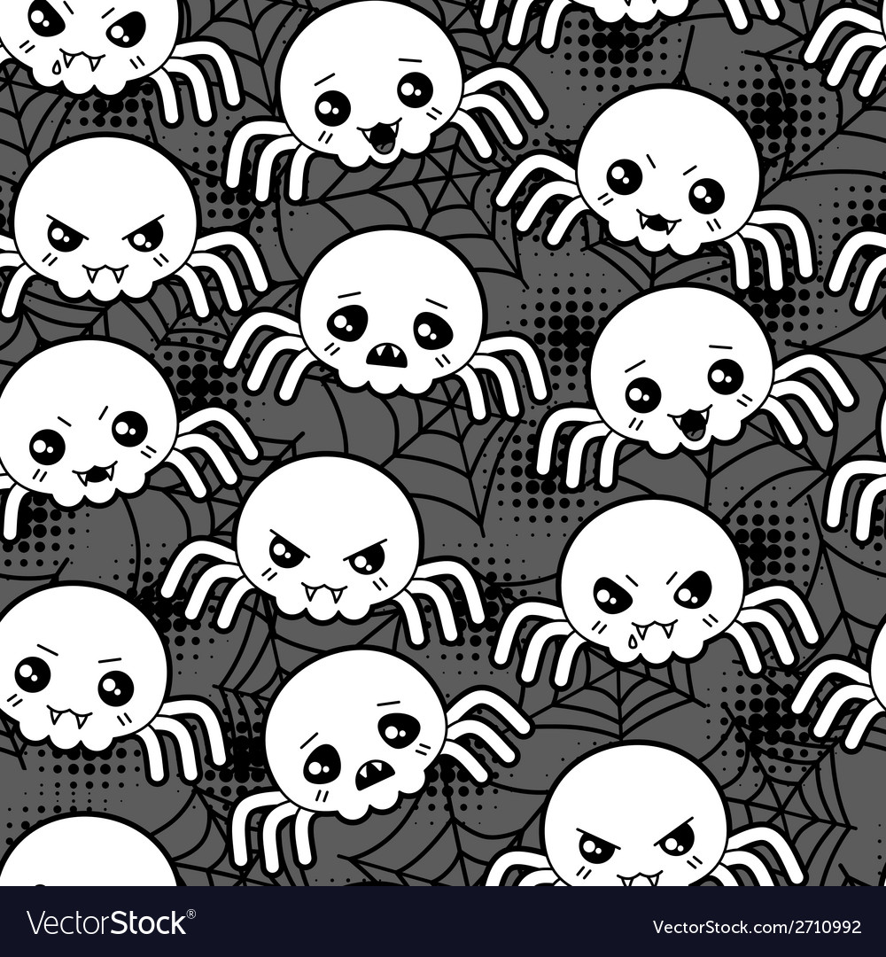 Seamless halloween kawaii cartoon pattern with vector | Price: 1 Credit (USD $1)