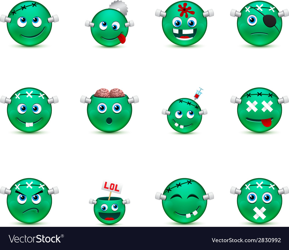 Series of green smilies style zombies vector | Price: 1 Credit (USD $1)