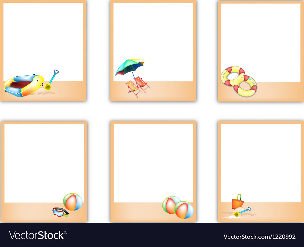 Set of blank photos with beach item pictures vector | Price: 1 Credit (USD $1)
