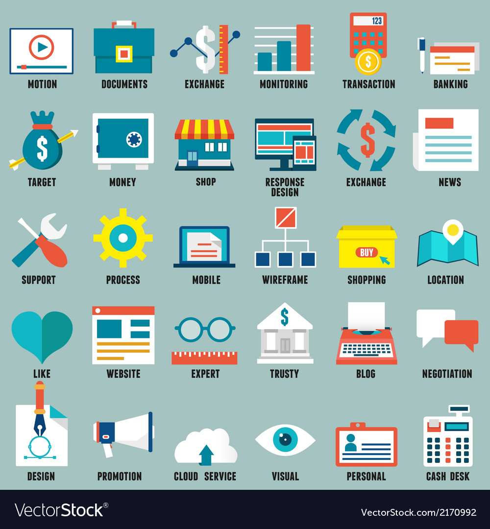 Set of flat business commerce service icons vector | Price: 1 Credit (USD $1)