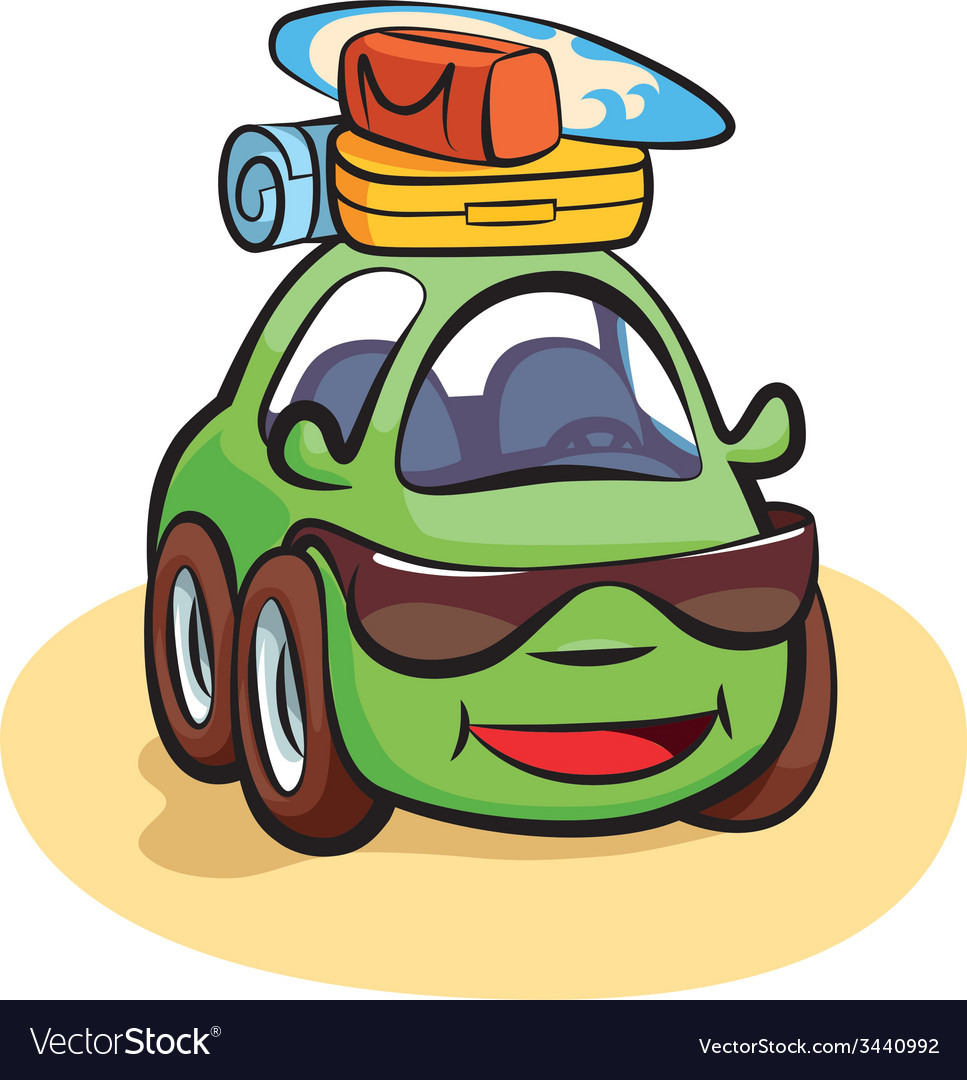 Traveling car cartoon vector | Price: 1 Credit (USD $1)